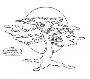 Glass Painting Tree Patern Stencil