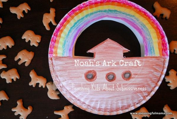 Noah's Ark craft that Holds animal crackers. So cute! This blog post was part of this Mom's lessons on submissiveness.