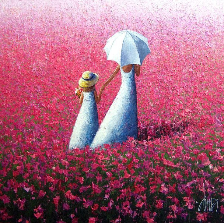 Pinturas que me gustan: Impresionistas niños y árbol rojo