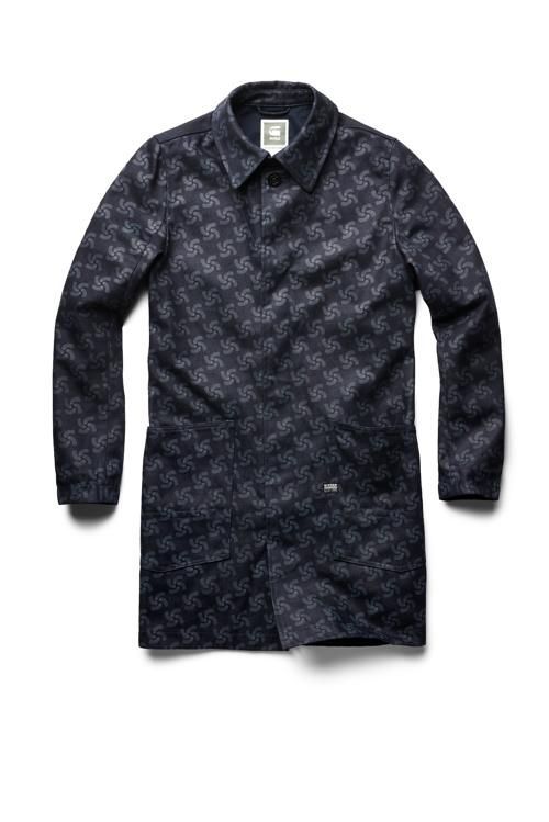 "G-Star RAW's ""Printed A-Crotch trench coat"" from the RAW for the Oceans 2014 collection, a collaboration between G-Star RAW and partners Bionic Yarn and Parley for the Oceans."