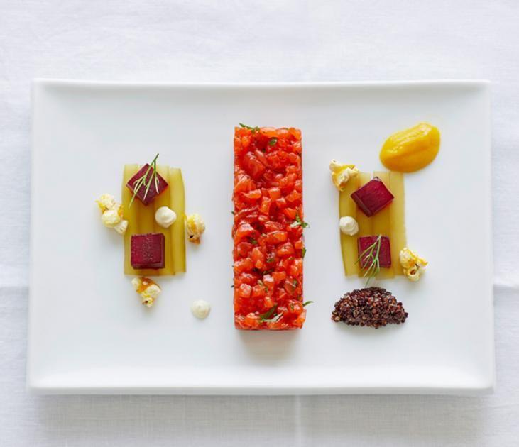 Lachstatar mit dreierlei Gemüse und Orangen-Popcorn Rezept - [ESSEN UND TRINKEN]