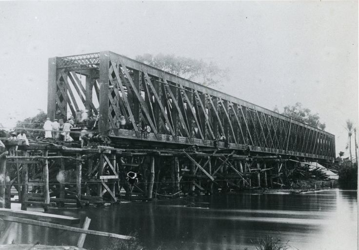 Colonial railroad bridge- 1900s photo- African Belgian colonial history- Congo- Matadi - Stanley-pool railroad- construction engineering by GRAINSofBrussels on Etsy