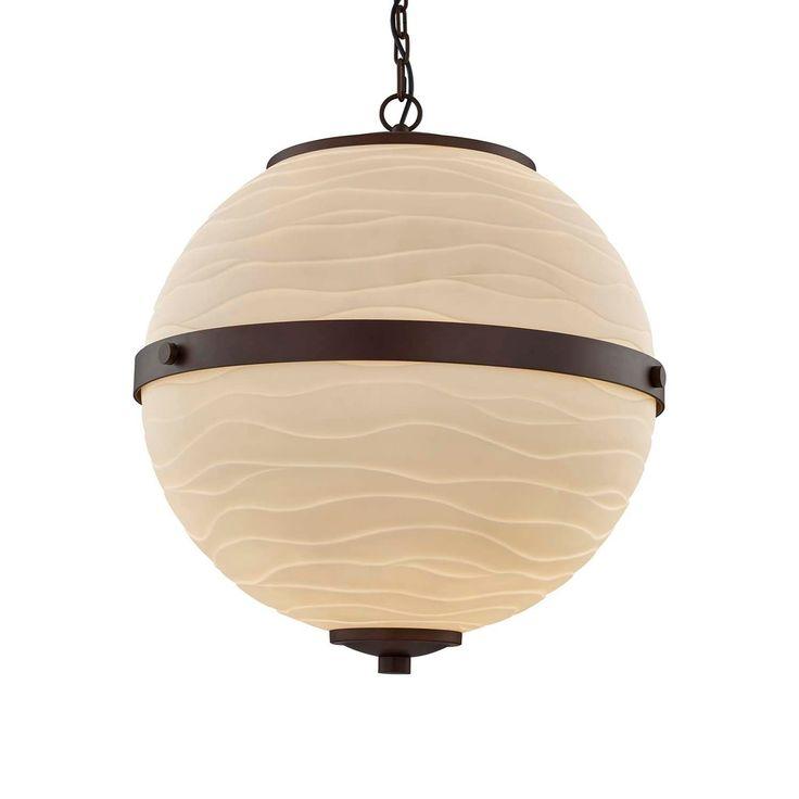 Justice Design Group Porcelina Imperial 3-light Dark Bronze LED Chandelier, Waves Shade, Brown