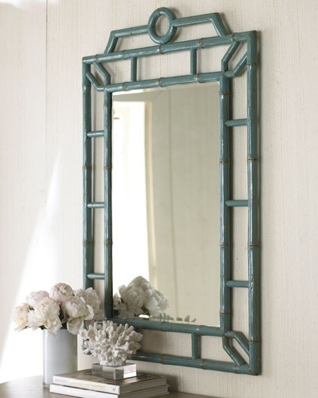 Blue Bamboo Mirror   Asian   Mirrors     By Beth Connolly