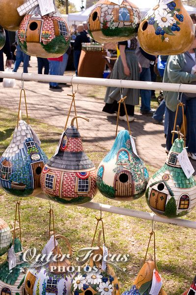 Hand painted gourd made in to bird houses for sale at a the Tulip Time Festival in Holland, Michigan