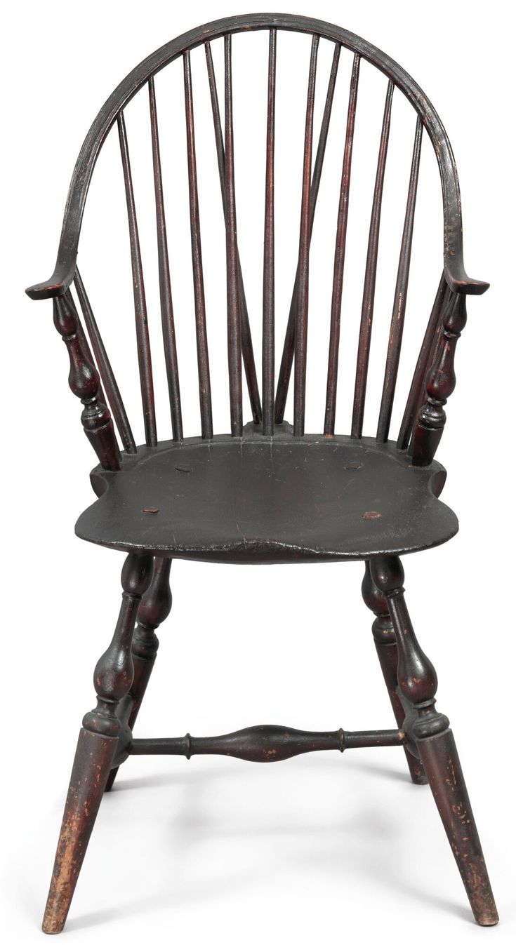 Blackpainted continuousarm braceback windsor armchair