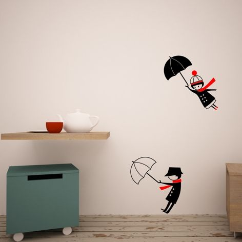 Gone with an umbrella wall decal from Green Fat Horses
