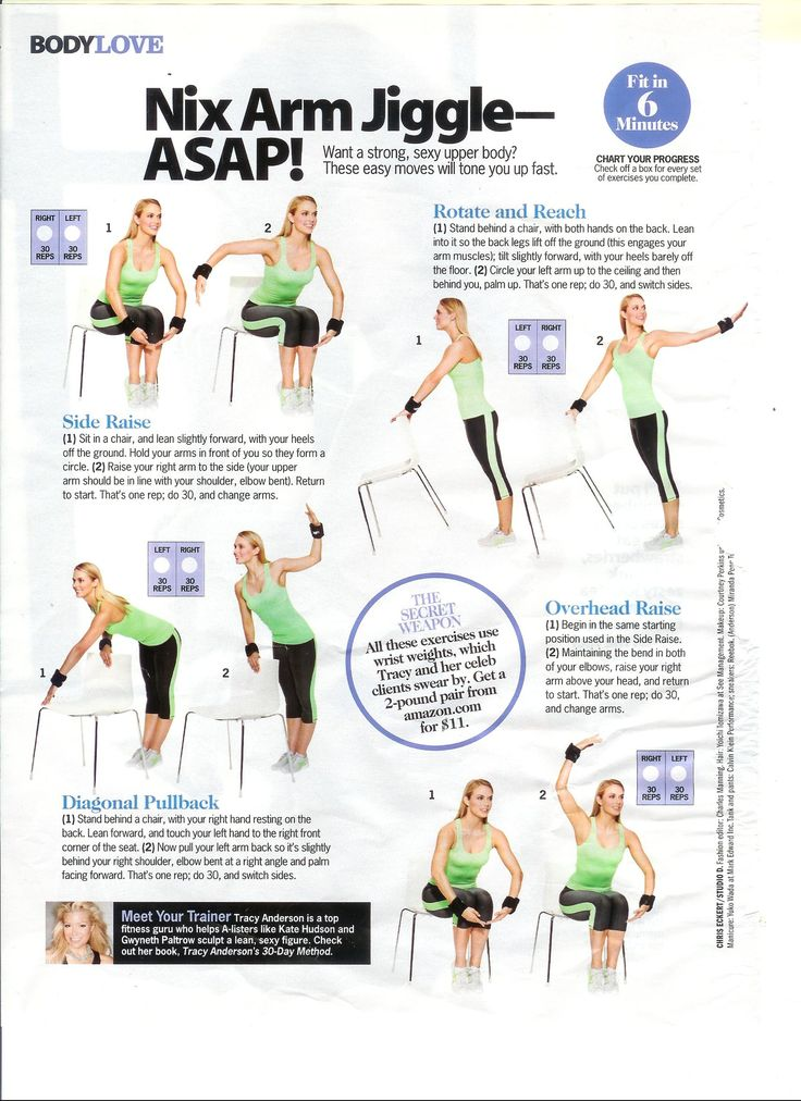 Time: 7 minutes Area worked: Arms Equipment needed: Chair, wrist weights This is an interesting Tracy arm workout as the chair is used through out the exercise, the moves are pretty easy (only 30 r...