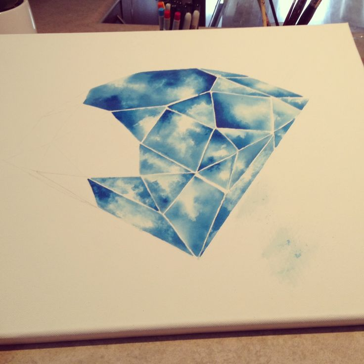 DIY: How to paint a geometric diamond with watercolor This is gorgeous! Of…