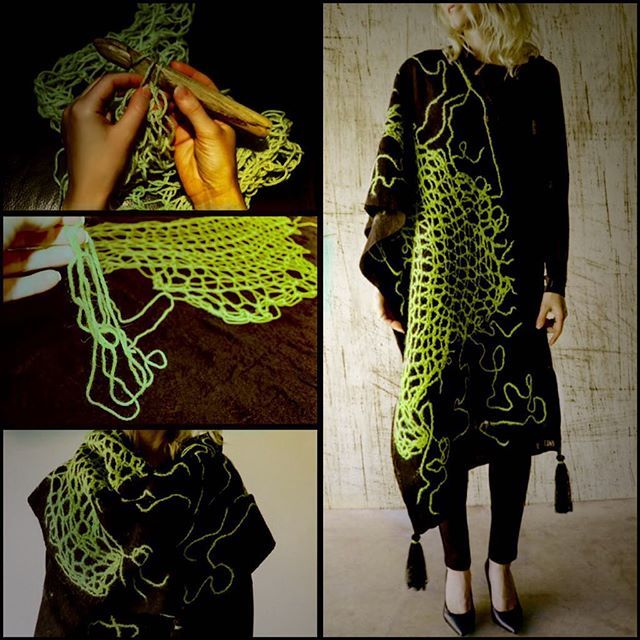Hand felted scarf #howitsmade #workinprocess #fashion #style #valeins #handmade #silk #tassels #scarf #nunofelt #felt #streetstyle #streetfashion #aucklandfashion #merino #merinowool #crochet #newzealandwool #nzfashion #black #yellow #blackandyellow #neonyellow #OOTD #insta_art #creativeshot