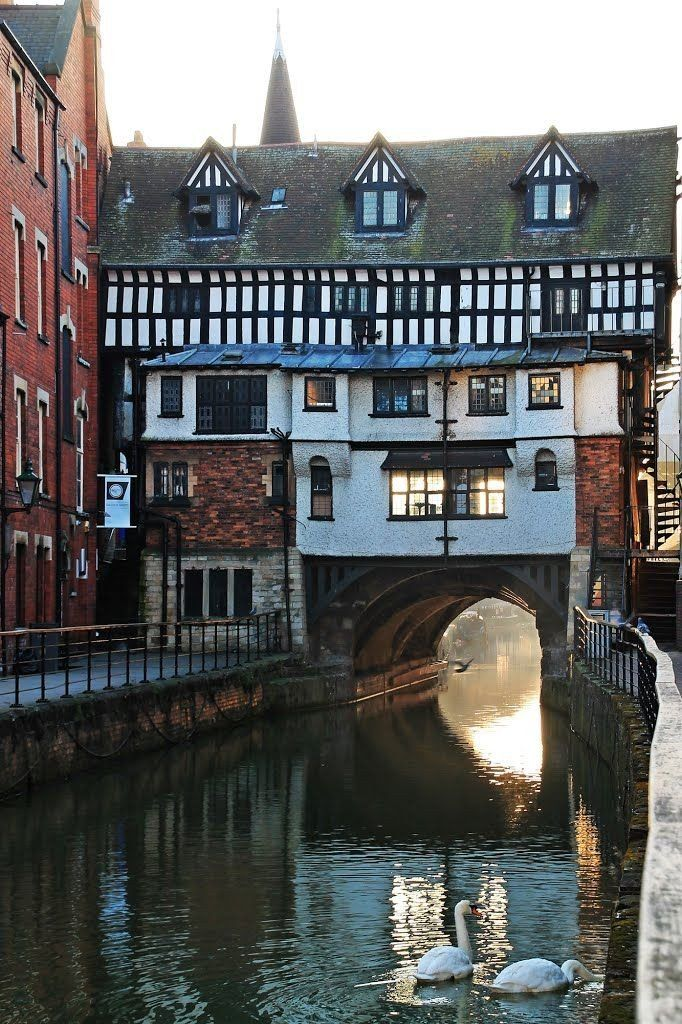 The medieval High Bridge, Lincoln; the oldest part constructed c.1160 & still lined with shops that date from 16th century .