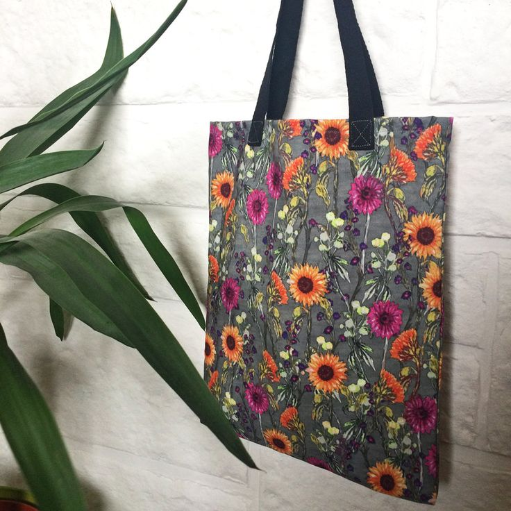 Floral tote bag, ideal bridesmaid presents, gift for bestfriend, colourful flower print canvas fabric, small tote or lunch bag for women by BitterLimeDesigns on Etsy