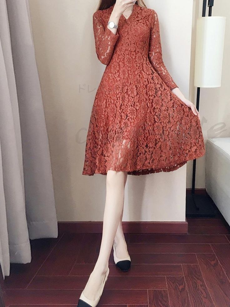 V-neck long sleeve temperament lady Total lace pure color tight lining thin date dress 13033886 - Lace dresses - Doresuwe.Com