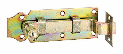 GAH-Alberts 115609 T�rriegel mit Knopfgriff, gekr�pft, mit Schlie�blech, galvanisch gelb verzinkt, 100 x 44 mm