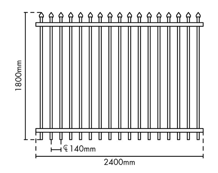 Security Fence Panel 1800Ht x 2400 (Black)