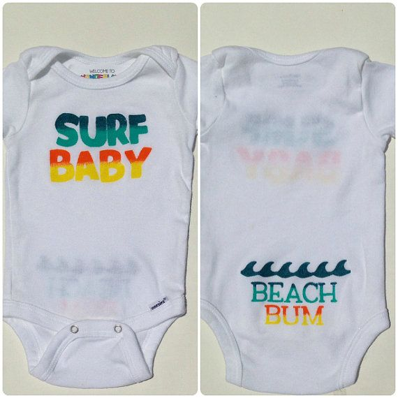 "Perfect gift for a ""Baby On Board"" surfer baby shower!!! Surf Baby Beach Bum Onesie from Welcome to Wonderland on Etsy"