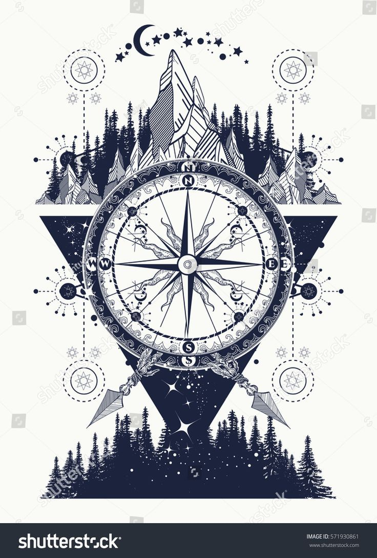 Mountains and antique compass tattoo art. Adventur…