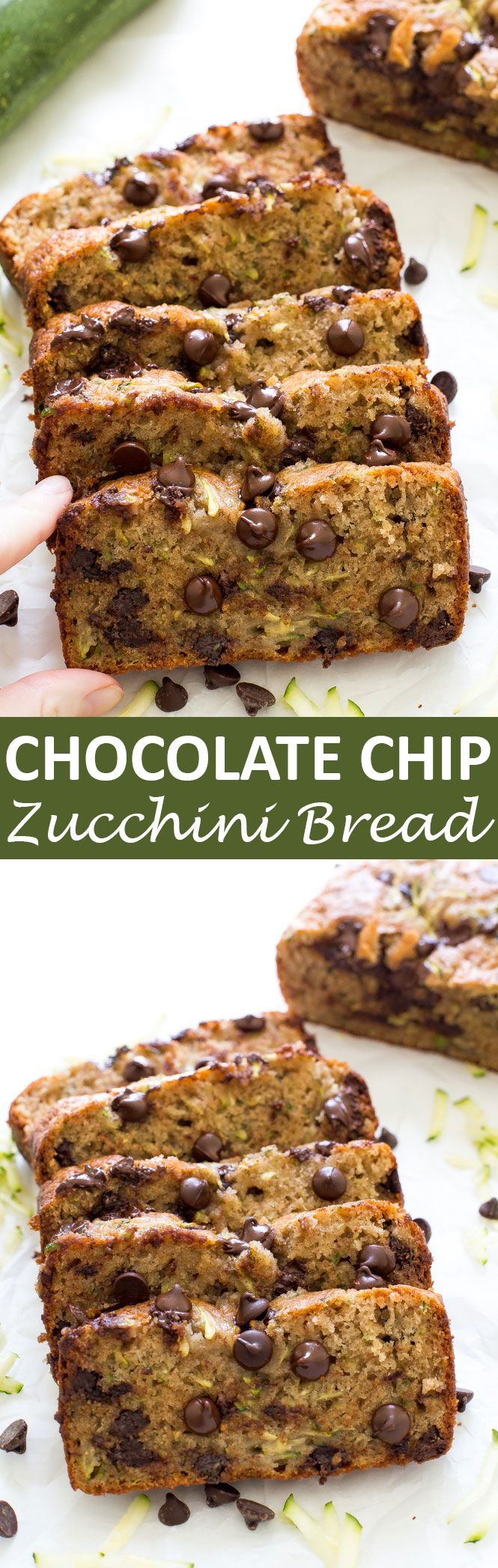 Chocolate Chip Zucchini Bread. Super moist, soft and loaded with chocolate chips! A great way to use up zucchini from your garden! | chefsavvy.com #recipe #zucchini #bread #chocolate
