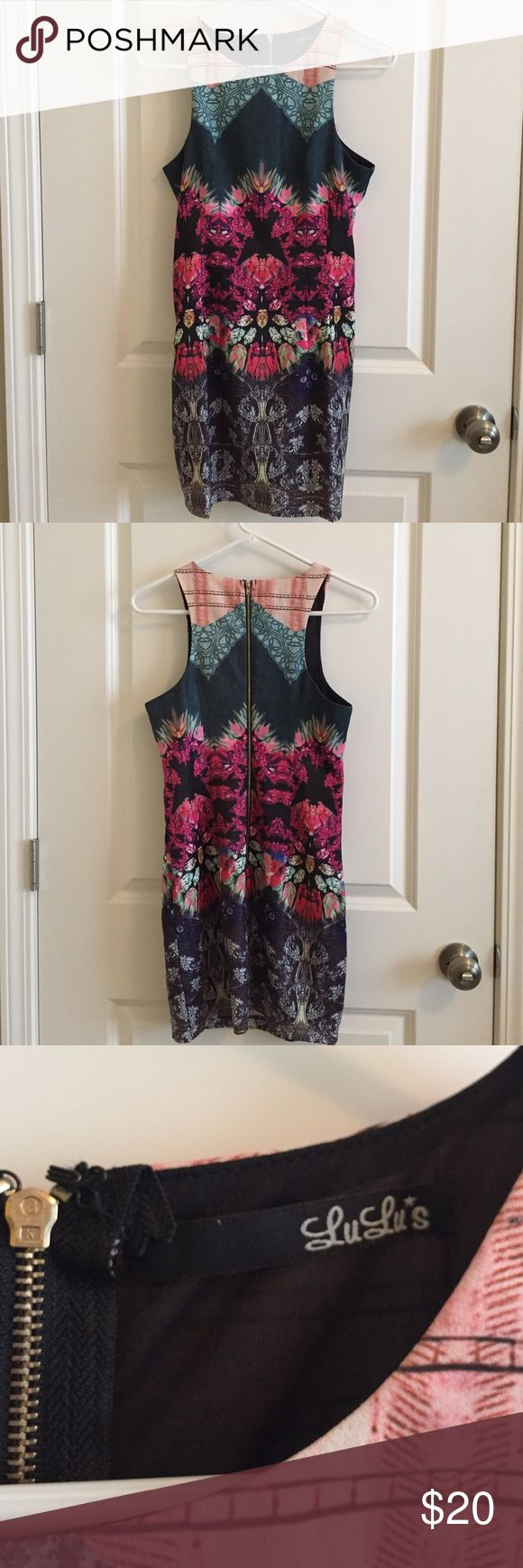 Lulu's multi color bodycon dress Fabulous going out dress! Multicolor and patterned body on dress from Lulu's. Lined dress with exposed zipper in back. Lulu's Dresses Mini