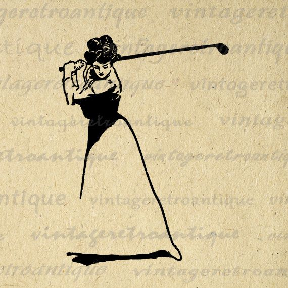 Golfer Lady Digital Printable Download Golf Image Illustration Graphic Antique Clip Art for Transfers etc HQ 300dpi No.3825