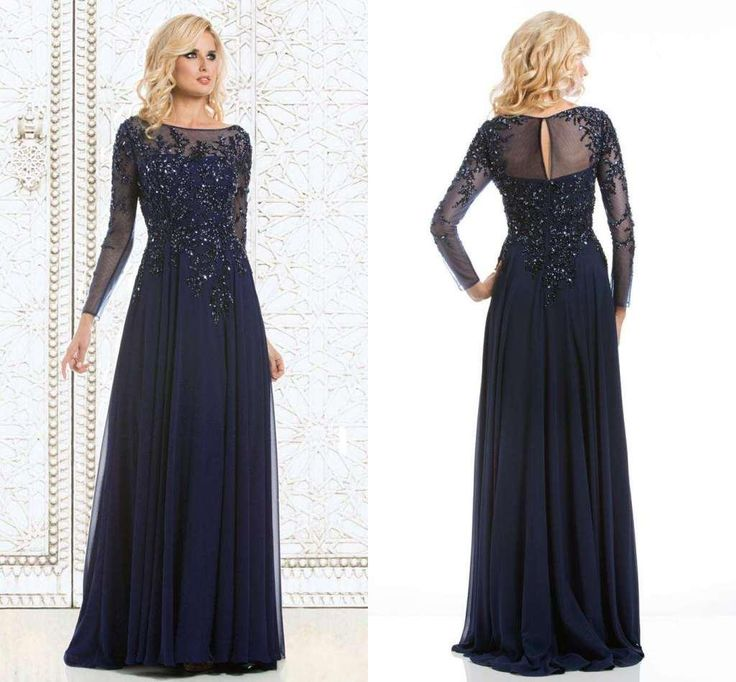 Wholesale Mother's Dresses - Buy Navy Blue Elegant A Line Long Sleeve Mother of the Bride Dresses Scoop Applique Lace Beaded Sequins Zipper Evening Formal Gowns New Style ZQ, $147.65 | DHgate.com