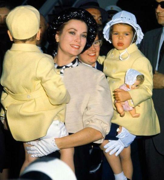 April 26, 1961: Princess Grace and Caroline and Albert arrive in New York.