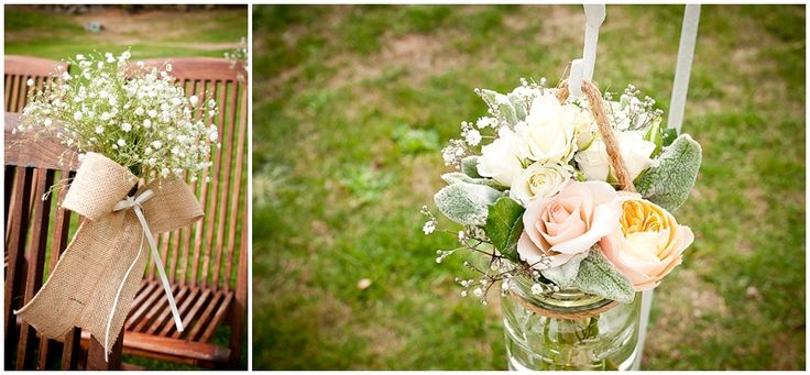 Beautiful Aisle flowers in jars with burlap and jute string. Peach Roses, Gypsophila, lambs ear greenery. Flowers by One Poppy Wedding Flowers Auckland, Photography by Handmade, Venue Mt Vernon Estate Akaroa.
