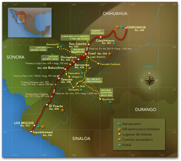 Train route through Copper Canyon. Los Mochis to Chihuahua