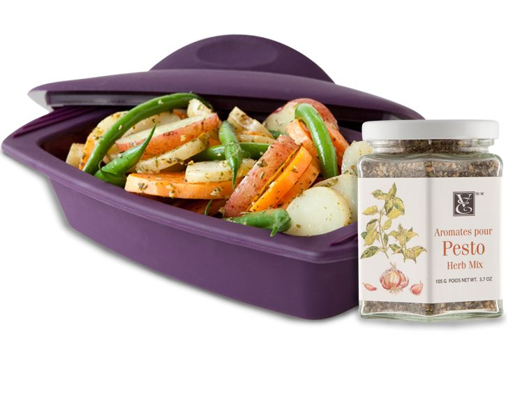 Make vegetables exciting and healthy with a Steamer and our renowned Pesto! Steamed baby vegetables + Pesto = bliss. (Rectangular Silicone Steamer, Pesto Herb Mix)