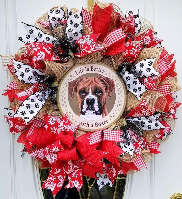 Deco Mesh Ruffle Dog Wreath, Boxer Dog Mesh Wreath, Dog Wreath for Front Door,Pet Wreath,Dog Lovers Wreath,Gift for Pet Lover,Dog Door Decor by MeshWreathsnMore on Etsy