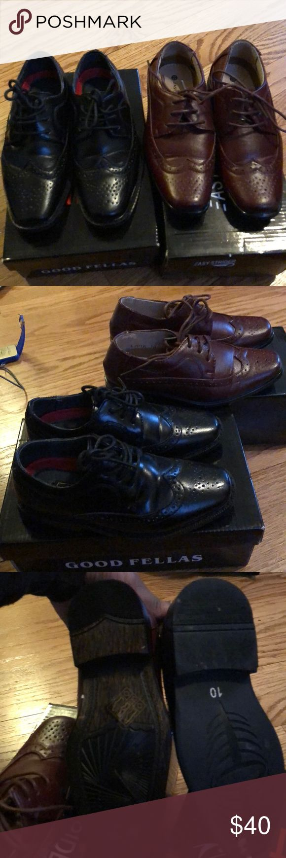 Brow and black boys dress shoes size 10 toddler My son may have worn them both one time the sizes run big in my eyes I'd say more like a 11 . Both come with boxes smoke free and pet free home Shoes Dress Shoes