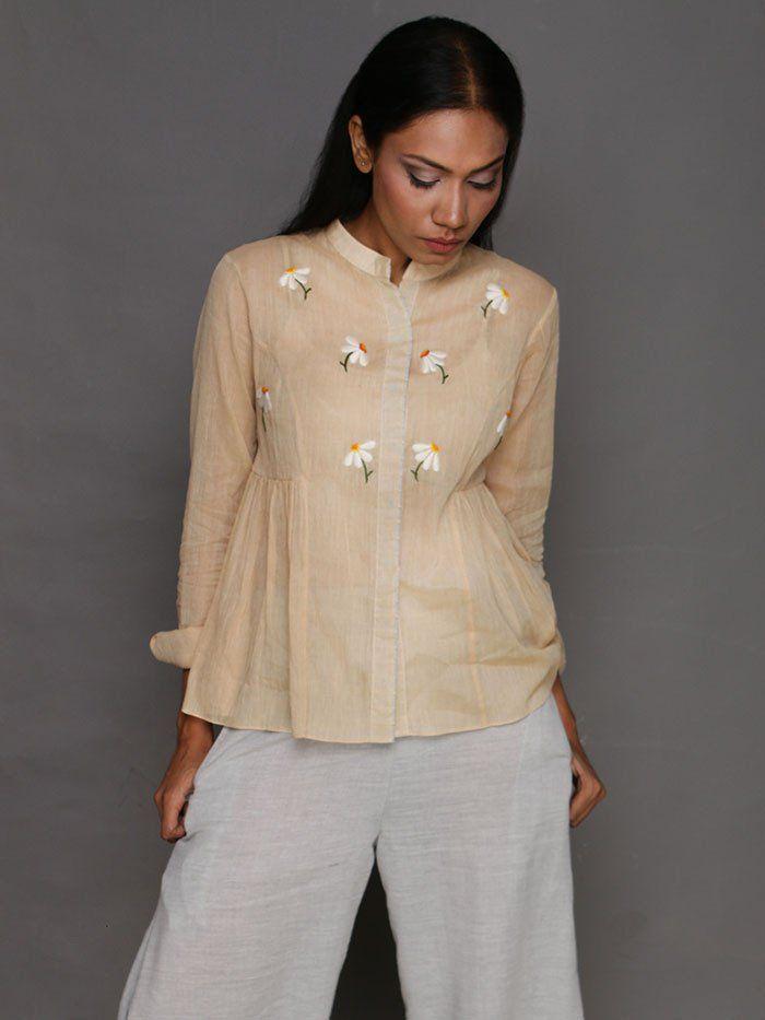 Yellow Jasmine Embroidered Cotton Blush Top