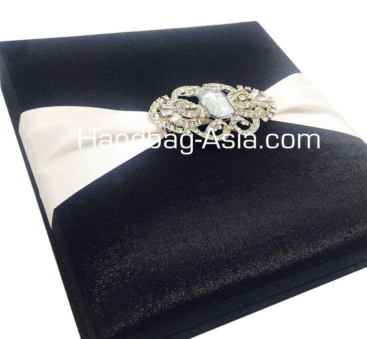 diamond wedding invitations%0A Black Brooch Embellished Luxury Boxed Wedding Invitations