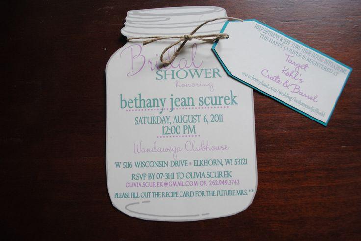 Mason Jar Bridal Shower Invitations with Registry by blueenvelope, $1.75