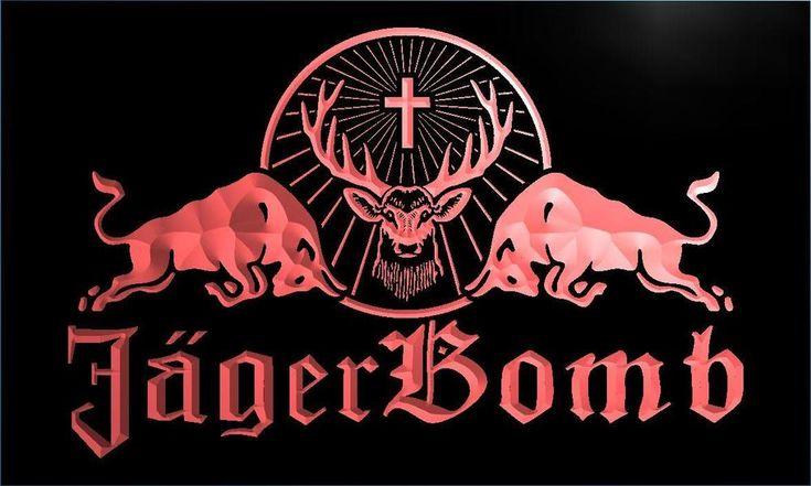 Jagermeister Jager Bomb Bull Wine LED Neon Sign Bar #Unbranded