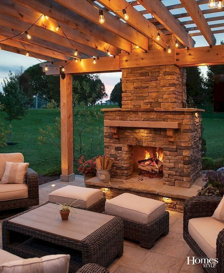 Simple Lighting Ideas For Beautify Your Backyard Backyard Beautify Ideas L Entertainment In 2021 Backyard Fireplace Backyard Patio Patio Design