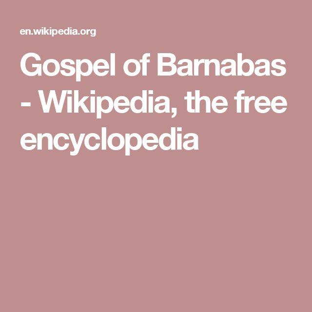 Gospel of Barnabas - Wikipedia, the free encyclopedia