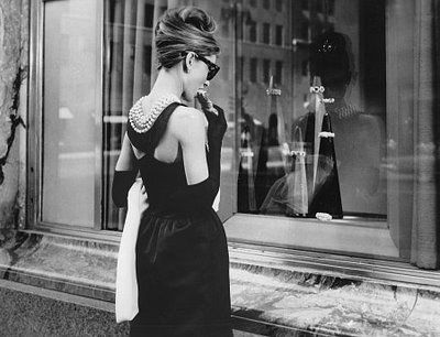 everything about this look is incredible.. they way the back is cut, the drape of the pearls into the curve of the dress, the elbow gloves, mixed with the casual classic look of the rayban wayfarer: Window Shops, Style, Dresses, Audrey Hepburn, Breakfast At Tiffany, Audreyhepburn, Holly Golightly, Favorite Movie, Da Tiffany