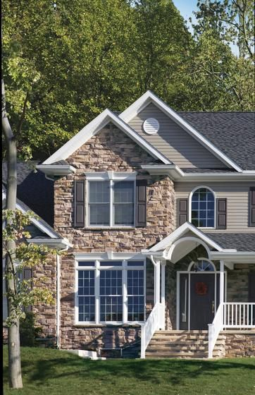 18 best gable decorations images on pinterest exterior for Brick and stone house facades