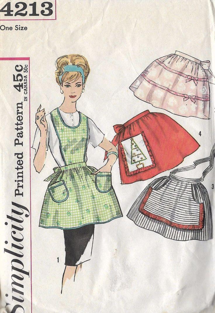 White half apron ebay - Simplicity 4213 Vintage 1950 Sewing Pattern 1 Yard Full Half Aprons 4 Variations Ebay