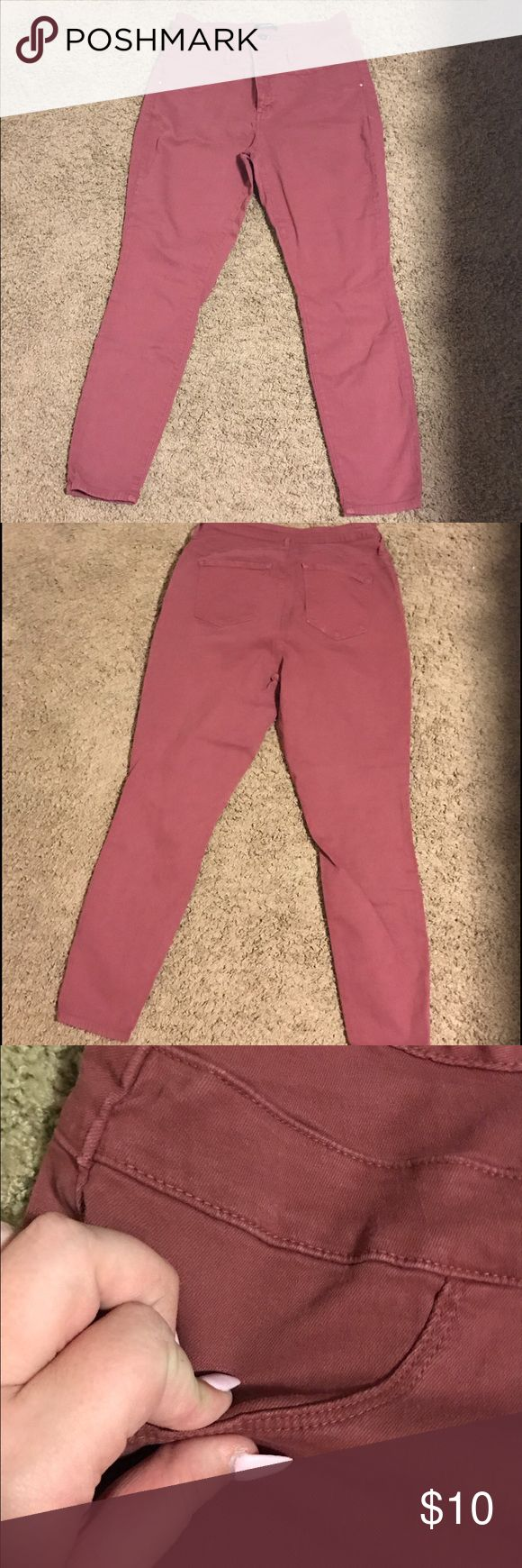 Refuge Plus Dark Blush Colored High Waisted Jeans These are size 16 jeans from Refuge+, a plus size brand from Charlotte Russe. They are a dark, blush color that have been worn a handful of times. Slightly loose for a size 16. refuge Jeans Straight Leg