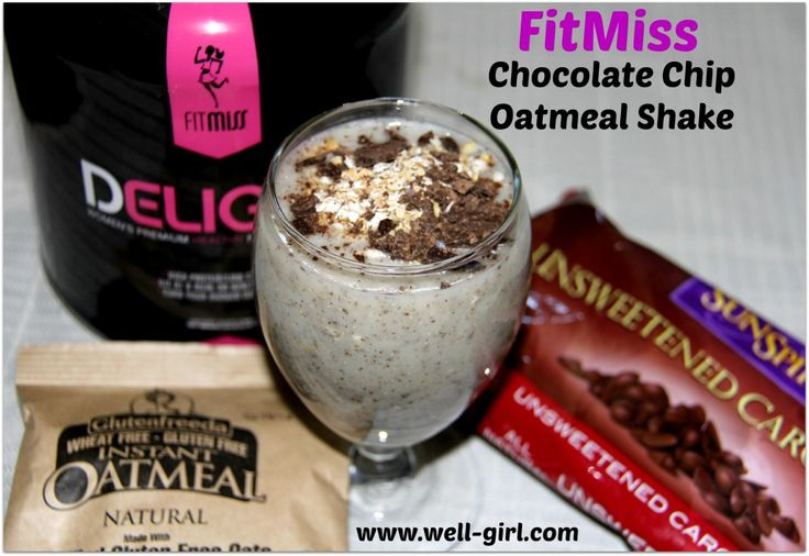 FitMiss Chocolate Chip Oatmeal Shake 8 ounces of unsweetened almond milk (or water) ¼ c of plain instant oatmeal (I used gluten-free) 1.5 tbsp. of unsweetened carob chips (or dark chocolate chips) 1 scoop of FitMiss Vanilla Chai Protein powder (or Chocolate Delight) Handful of Ice
