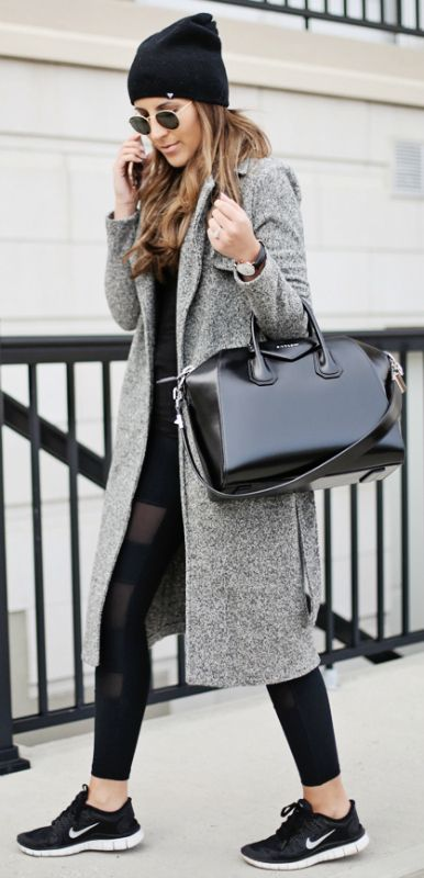 Stephanie Sterjovski + sporty chic + every day sophistication + winter outfit + fresh Nike sneakers + black beanie + gorgeous leather box bag   Leggings: Carbon38, Coat: Nordstrom, Hat: TNA, Bag: Givenchy, Sneakers: Nike.