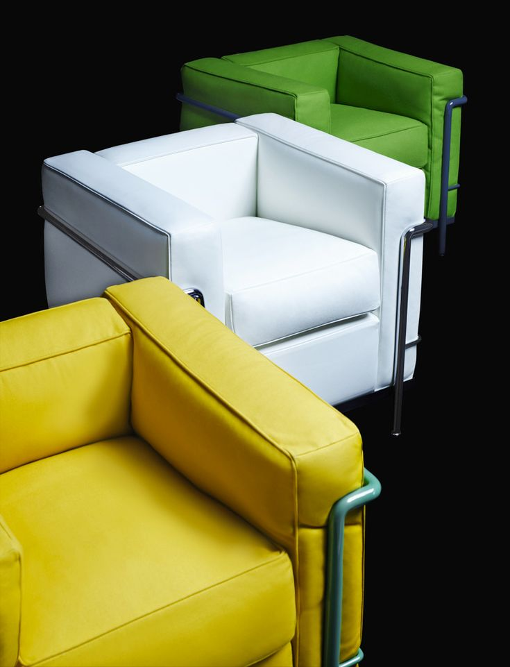 Not so classic colors, but I like it!  LC2 armchairs by le corbusier (pierre jeanneret and charlotte perriand)  photo by karl lagerfeld for cassina