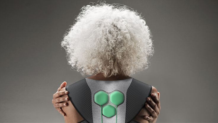 "These garments by Yves Béhar's Fuseproject studio feature connected ""electric muscles"" that assist elderly wearers to walk, stand up and climb stairs."