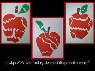 Cut a paper apple into pieces and glue back together...almost...on a sheet of paper.