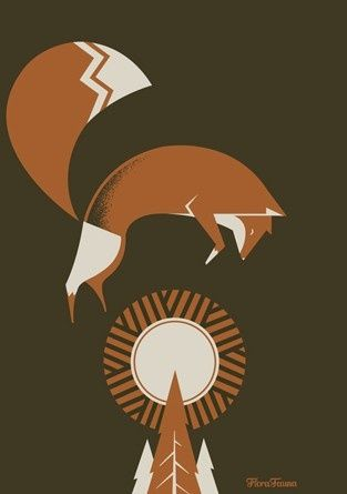 (red sun fox) vector illustration