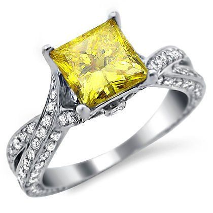 2.13ct Canary Yellow Diamond Engagement Ring Princess Cut | http://www.cybermarket24.com/2-13ct-canary-yellow-diamond-engagement-ring-princess-cut/