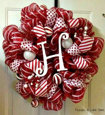 Deco Mesh Wreath - Pick person's favorite color for everyday wreath, with last name initial