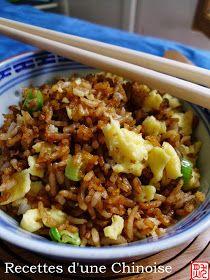 Recettes d'une Chinoise: Que faire avec un reste de riz ? Riz sauté à la sauce de soja 酱油炒饭 jiàngyóu chǎofàn